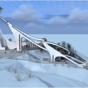 The ski jumping complex K-125 and K-95, , Sochi